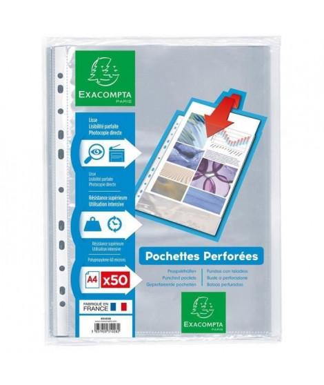 EXACOMPTA - 50 Pochettes perforées - 21 x 29,7 - Polypropylene lisse incolore 55µ - 11 trous - Sous film (Lot de 3)