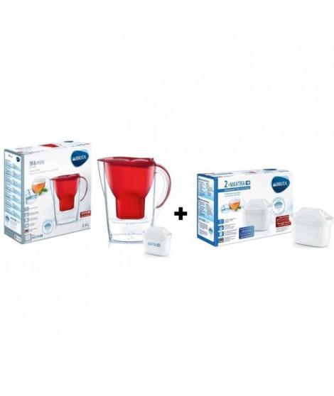 BRITA Pack de 2 cartouches MAXTRA+ pour carafes filtrantes + BRITA Carafe filtrante MARELLA Rouge + 1 Cartouche de rechange
