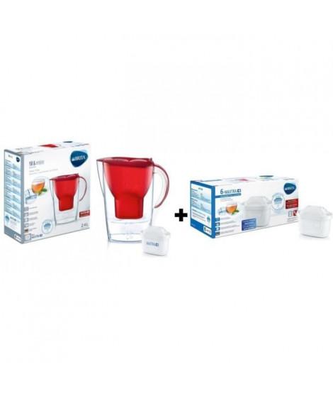 BRITA Pack de 6 cartouches MAXTRA+ pour carafes filtrantes + BRITA Carafe filtrante MARELLA Rouge + 1 Cartouche de rechange