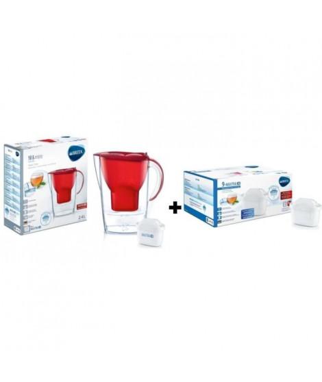 BRITA Pack de 9 cartouches MAXTRA+ pour carafes filtrantes + BRITA Carafe filtrante MARELLA Rouge + 1 Cartouche de rechange