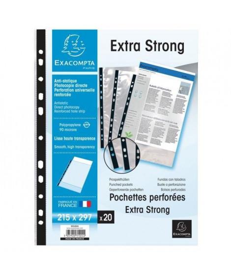 EXACOMPTA - 20 Pochettes perforées - Bande de renfort - 21x29,7 - Polypropylene lisse incolore 85µ - 11 trous - Sous film (Lo…