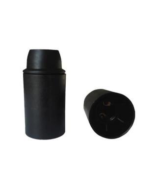 Douille E14 thermoplastique lisse noir (Lot de 3)