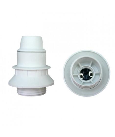 Douille E14 thermoplastique 1 bague blanc (Lot de 3)