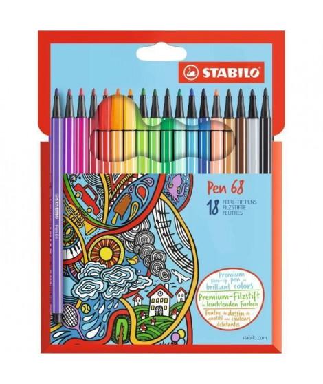 STABILO Etui carton de 18 feutres de coloriage Pen 68 (Lot de 2)