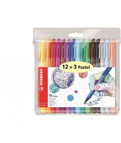STABILO Pochette de 15 stylos-feutres PointMax - Encre a base d'eau - 12 coloris assortis + 3 pastels (Lot de 2)