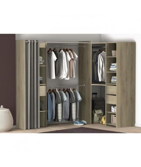 CHICAGO Kit dressing Angle 2 tiroirs + penderie - Décor chene kronberg - L 99 x P 90 x H 183 cm