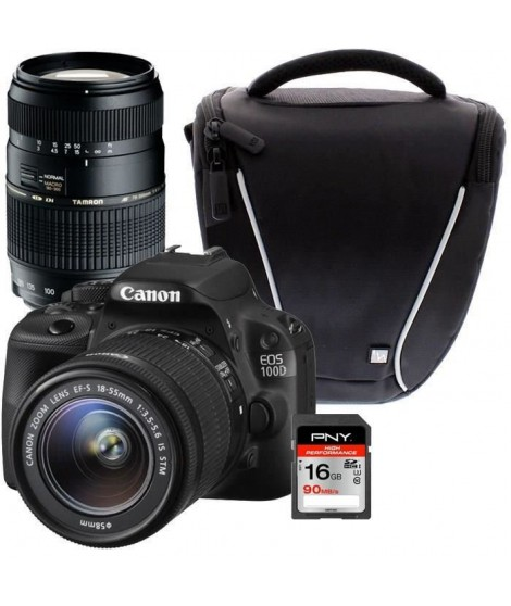 CANON EOS 100D + 18-55 IS STM + TAMRON 70-300mm + Sacoche + Carte 16Go