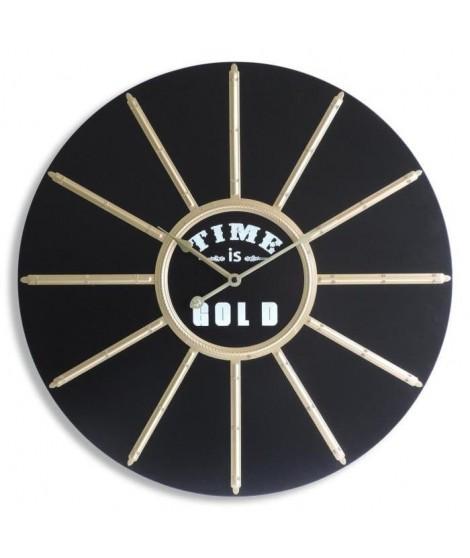HELIOS Horloge murale Ø60 cm a piles Helios noire et dorée