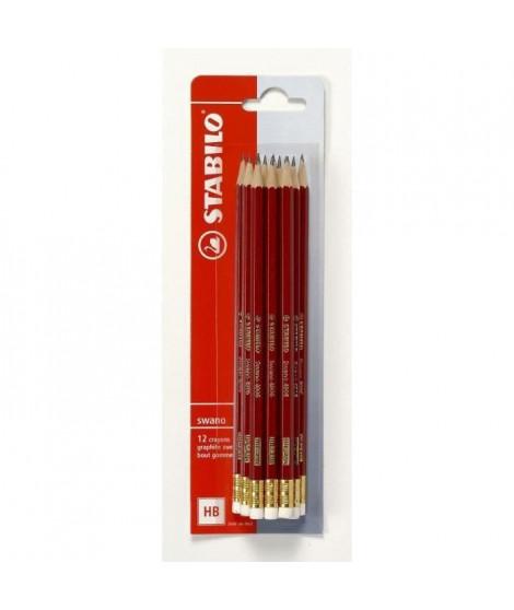 STABILO 12 Crayons Graphites Swano -HB- Bout gomme (Lot de 3)