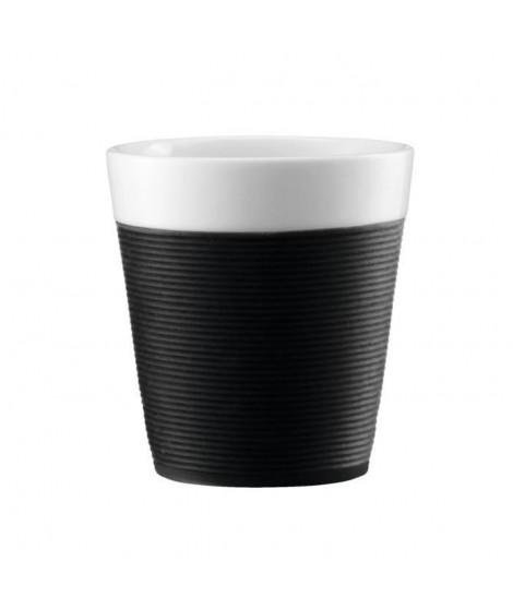 BODUM Set de 2 mugs en porcelaine avec bande silicone Bistro 0,17 L noir et blanc