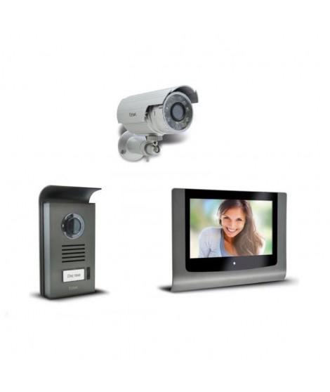 """EXTEL Visiophone couleur 2 fils Levo 7"""" avec sa caméra de surveillance extérieure"""