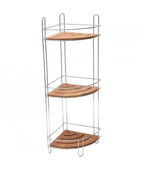 Etagere d'angle 3 niveaux - Métal / bambou - H61,5x l27 x P20 cm