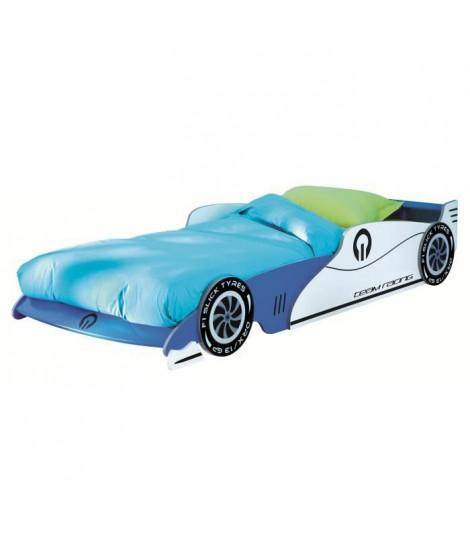 GRAND PRIX Lit enfant voiture évolutif junior verni bleu et blanc - l 90 x L 190-200 cm