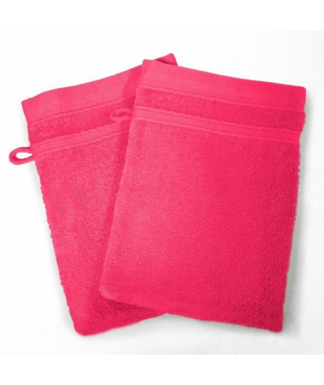 DOUCEUR D'INTERIEUR Lot de 2 gants de toilette 100% coton Vitamine 15x21 cm fuchsia