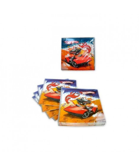 ATOSA Pack de 15 serviettes - Imprimé Hot Wheels - Garçon - 33x33 cm