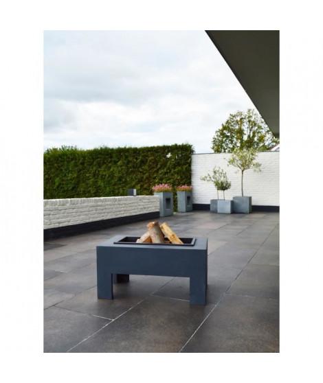 E'LITE Braséro avec table en fibre rectangulaire 78x48x39cm