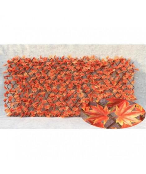 IDEAL GARDEN Treillis extensible Osier - Avec feuilles artificielles type érable rouge - 1 x 2 m