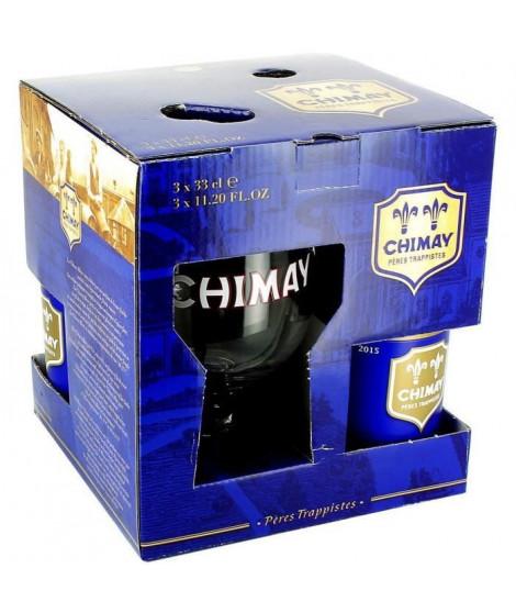 Coffret Chimay Bleue -  3 bieres de 33 cl + 1 verre de dégustation
