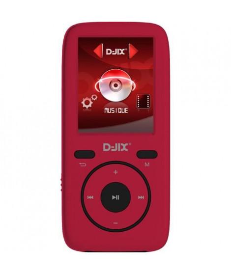 D-jix M440 Lecteur MP4 - 4GO - Format Audio : MP3, WMA, FLAC - Dictaphone - 8h d'autonomie - Carte micro SD jusqu'a 16Go - Rouge