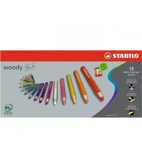 STABILO - Etui carton - lot de 18 crayons de couleur multi-talents  - 1 taille-crayon
