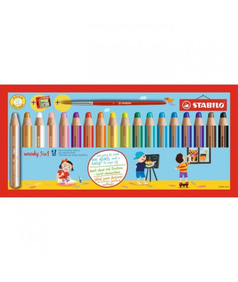 STABILO 18 crayons de couleur Multi-talents Woody 3in1 + 1 pinceau rond taille 8 + 1 taille-crayon