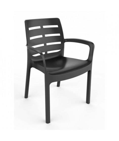 Lots de 4 fauteuil Empilable BORNEO - Gris anthracite