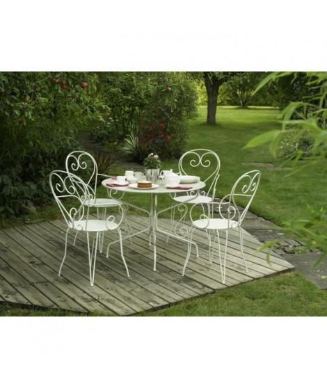 Lot de 4 Fauteuils de jardin romantique empilable en fer forgé - Blanc