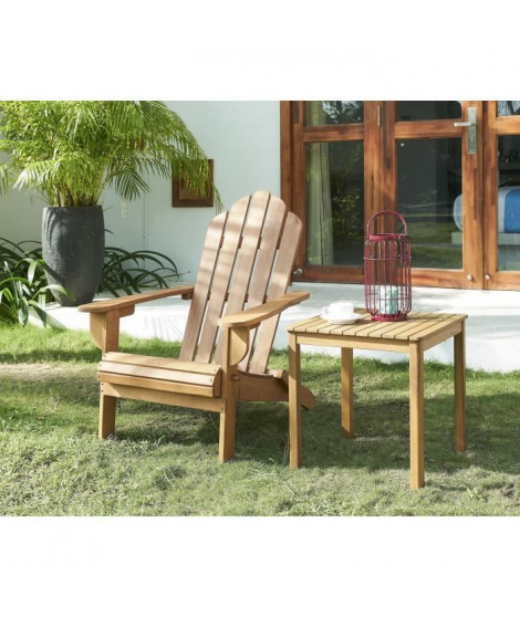 Chaise de salon jardin en bois naturel - 87,5 x 73,5 x 95,5 cm