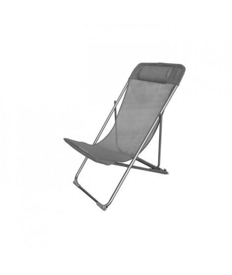 Fauteuil relax avec tetiere en textilene - 57 x 56 x 74 cm - Gris