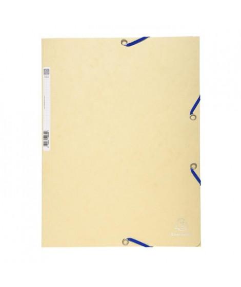 EXACOMPTA - Chemise a élastiques 3 rabats - 24 x 32 - Carte lustrée 390G - Couleur ivoire