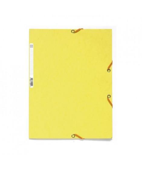 EXACOMPTA - Chemise a élastique - 3 rabats - 24 x 32 - Carte lustrée 390G - Jaune citron