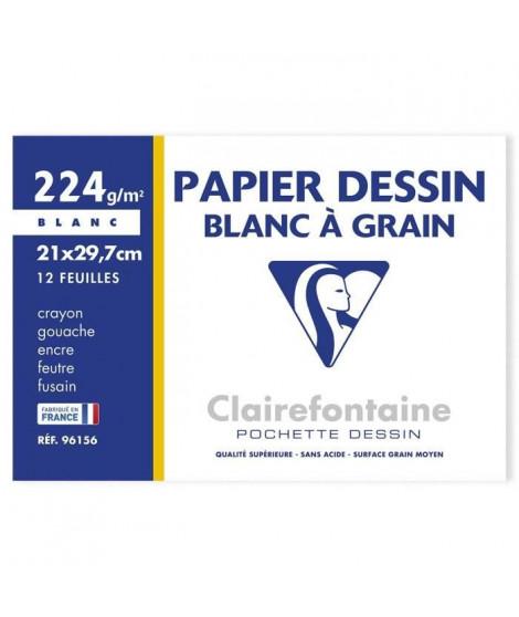 CLAIREFONTAINE - Pochette dessin - Papier a grain P.E.F.C - 21 x 29,7 - 12 feuilles - 224G - Couleur blanche