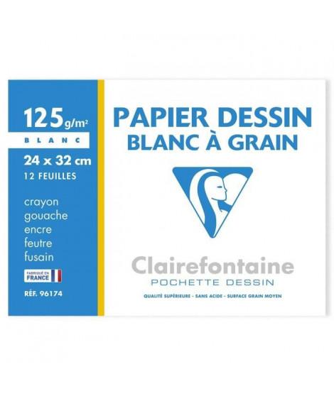 CLAIREFONTAINE - Pochette dessin - Papier a grain P.E.F.C - 24 x 32 - 12 feuilles - 125G - Couleur blanche