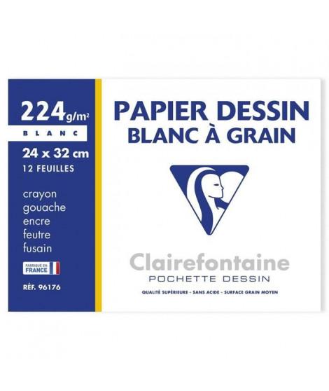 CLAIREFONTAINE - Pochette dessin - Papier a grain P.E.F.C - 24 x 32 - 12 feuilles - 224G - Blanc