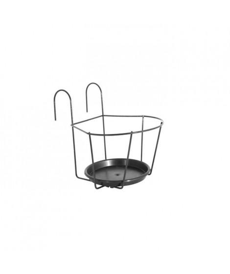ARTEVASI Porte-Pot pour balcon avec Soucoupe - 22 x 22 cm - Gris anthracite