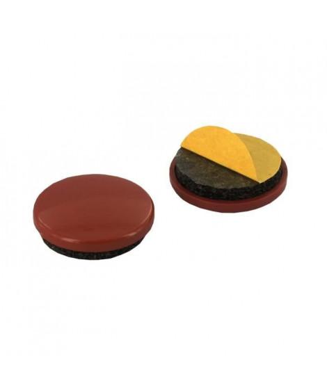 Lot de 8 Patins adhésifs - Ø 28 mm - Plastique - Marron
