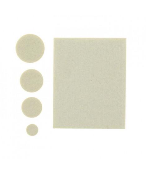 Assortiment 5 patins-feutres adhésifs - Ø 13, 22, 25 et 32 mm + 80 x 100 mm - Blanc