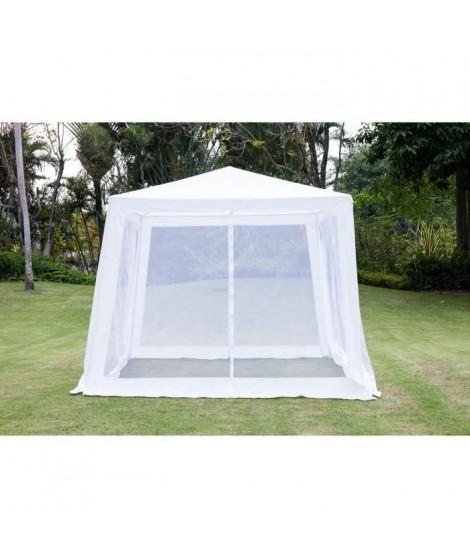 Tonnelle de jardin Pampe 2 - En acier toile polyester - 3 x 3 m - Blanc