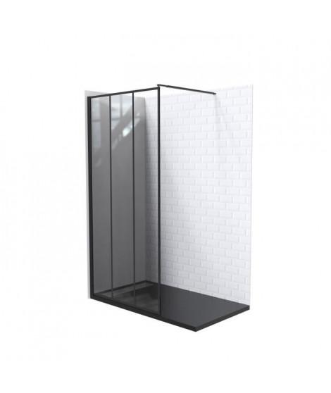 AQUA+ Paroi de douche Veria 120 sérigraphie noir