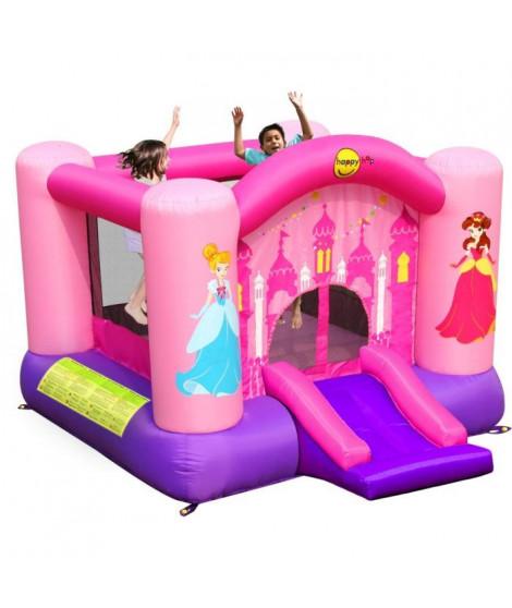 HAPPY HOP Château - Aire de jeux gonflable Princesses Rose Fille