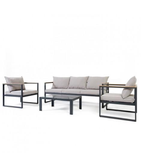 Salon de jardin banquette 3 places + 2 fauteuils et table basse en acier ANIS