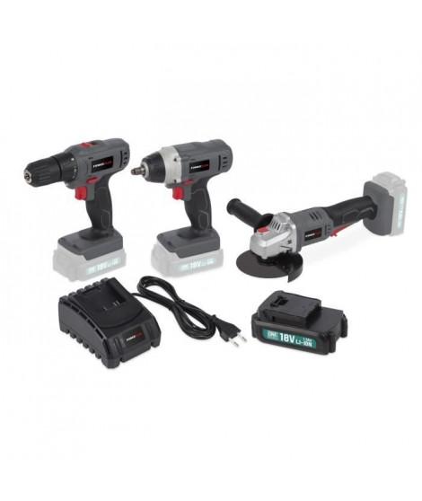 POWERPLUS Perceuse/Visseuse + Meuleuse d'angle + Clé a choc + Batterie + Chargeur 18V