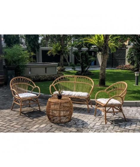 Salon de jardin en rotin naturel avec coussin 4 personnes BASSANO