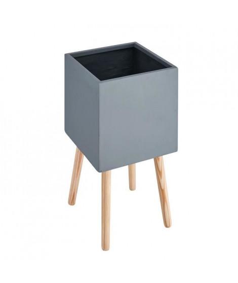Pot carré sur pieds en bois - 30 x 30 x 50 cm - Pieds: 40 cm - Gris anthracite