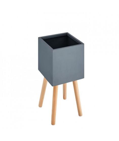 Pot carré sur pieds en bois - 50 x 50x 50 cm - Pieds: 40 cm - Gris anthracite