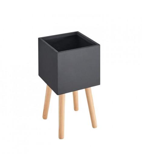 Pot carré sur pieds en bois - 30 x 30 x 50 cm - Pieds: 40 cm - Noir