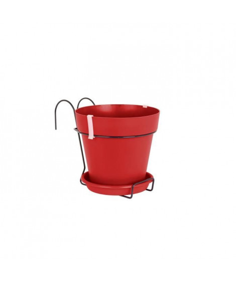 ARTEVASI Pot de fleurs Capri pour balcon - 4 L - 20 x 20 x 18,9 cm - Rouge foncé