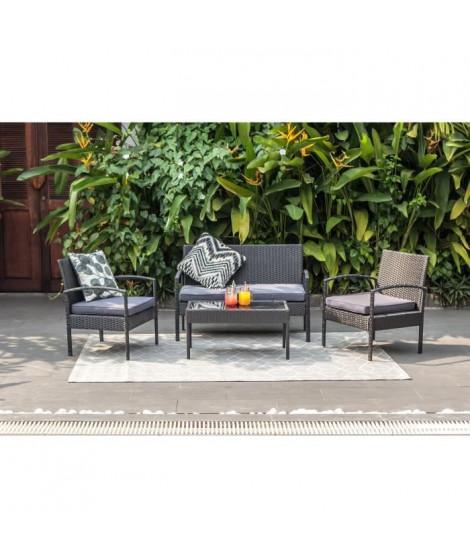 Salon de jardin en résine tressée 4 places  - Noir avec coussins gris