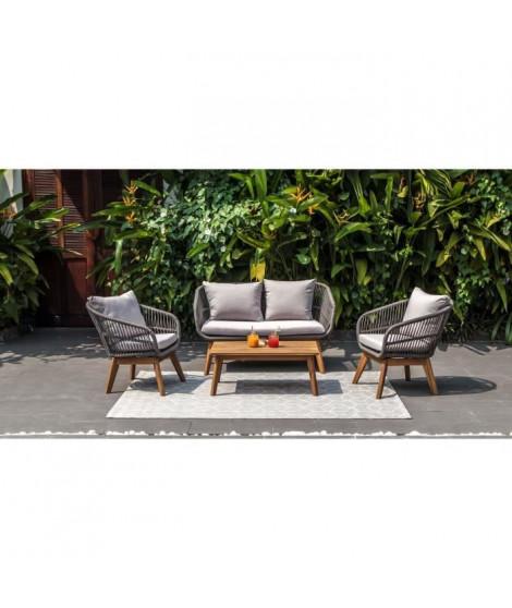 BEAU RIVAGE Salon de jardin Maui - 4 places - Bois d'acacia