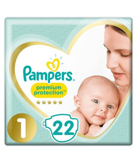 PAMPERS Premium Protection New Baby - Taille 1 - 2 a 5Kg - 22 couches